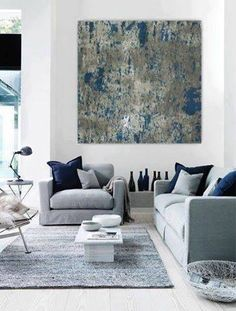 grey and navy large abstract painting teal blue navy grey gray white canvas art wall art big huge painting contemporary minimalist modern - Interior Design Living Room Contemporary