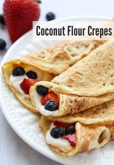 These Coconut Flour Crepes are gluten-free and paleo. Add your favorite fillings like whipped (coconut) cream and berries for a wholesome treat.