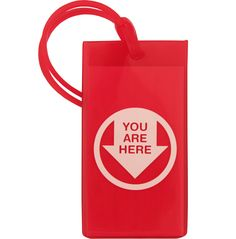 Flight 001 You Are Here luggage tag's bright color and wittiness helps you identify your bag in a sea of black luggage at baggage claim. Rubber tag is transparent revealing the identification card in the back.