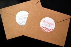 Chevron Return Address Labels  2 Circle by MeAndMineDesign on Etsy, $8.00