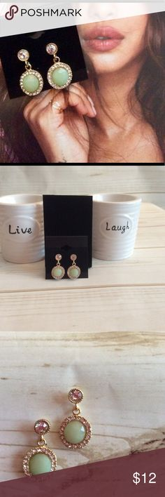 New green and gold drop earrings New light colored green earrings with gold accents. *mixed metal* * light weight* Jewelry Earrings