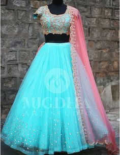 Classy lehenga from the creative house of Mugdha art studio for orders whatsapp us on Party Wear Indian Dresses, Indian Gowns Dresses, Indian Bridal Outfits, Party Wear Lehenga, Indian Fashion Dresses, Dress Indian Style, Indian Designer Outfits, Lehenga Saree Design, Half Saree Lehenga