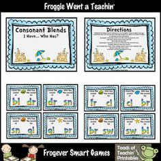 Skill: Children will identify and say the sound for 20 different consonant blends while playing the popular game of I Have. First Grade, Second Grade, Consonant Blends, Academic Success, Teaching Phonics, Safari Theme, Classroom Themes, Word Work, Writing Activities