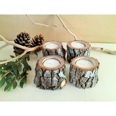 4 Rustic tree branch candles ($15) ❤ liked on Polyvore featuring home, home decor, candles & candleholders, branches home decor, branch candles, rustic home decor, wedding candles and tree branch candles