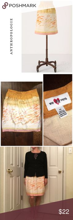 """Anthropologie Goldfish bowl skirt Size 10 but runs small . Waist measures 15"""" across so will fit a size 4-6 best .  By we love Vera . Length - 21"""" Skirt is in like new condition Anthropologie Skirts"""