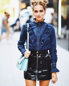 favorite fall combo: DENIM + LEATHER ✨ @chiaraferragni #stellamccartney #isabelmarant #nyfw #lookfwrd
