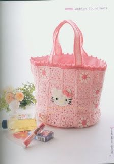 My Crochet , Mis Tejidos: Hello Kitty para las Nenas ! Bolso , Bufanda , Gorro y Zapatillas