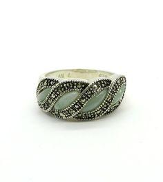 Jade Ring Vintage Avon Jade & Marcasite Ring by LeesVintageJewels