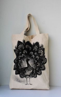 Peacock tote from etsy.com