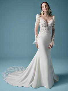 Nikki Lace bell sleeve mermaid gown with scoop illusion back. #wedding #weddingdress #weddingdresses #bride #bridalgown #weddingplanning #weddingfashion #maggiesottero