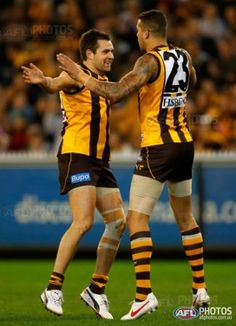 Luke Hodge and Lance Franklin of the Hawks celebrate during the AFL Round 23 match between the Hawthorn Hawks and the West Coast Eagles at the MCG.