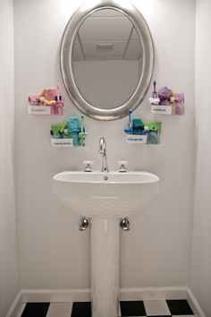 Use Command™ Clear Caddies to help you and your roommates to keep your bathroom supplies separate and organized.