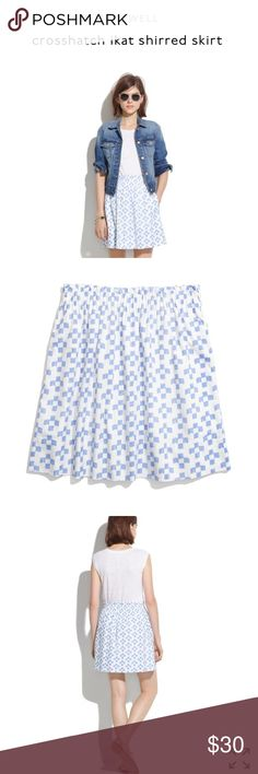 Madewell Crosshatch Ikat Skirt White skirt with blue crosshatch ikat design from Madewell. Elastic waistband and fully lined. Size medium fits true. New with tags. Retailed for $88 but is sold out online. Make an offer or bundle to save 15%! Madewell Skirts