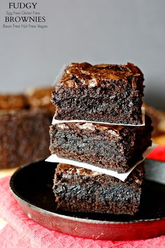 Ultimate fudgy gluten free egg free brownies. Food allergy friendly dessert that is dairy free, soy free, nut free, bean free AND Vegan!