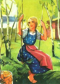 Magazine cover 1938 from Finland - Illustration by Martta Wendelin (Finland) Illustrators, Christmas Art, Illustration, Drawing Illustrations, Postcard, Graphic Design Illustration, Fairytale Illustration, Art, Vintage Illustration