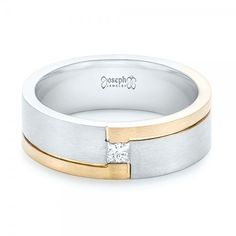 Custom Two-Tone Brushed Diamond Wedding Band #102991