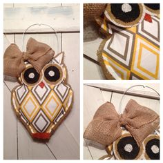 Patterned Fabric Owl Burlap Door Hanger by EverTwoClever on Etsy