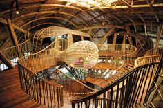 Ecological Children Activity and Education Center: Koh Kood, Thailand.   This qualifies as huge architecture becasue of the ideas involved - it's Bamboo.   No computer modelling here - Frank Gehry, eat your heart out!