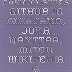 cosmiclattes.github.io Aikajana, joka näyttää, miten Wikipedia-artikkeli on kehittynyt.