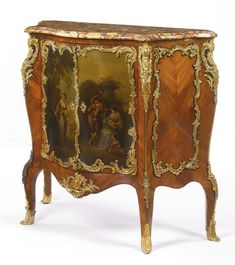 VICTOR RAULIN, FL. 1867-1925 A LOUIS XV STYLE GILT BRONZE AND VERNIS-MARTIN DECORATED KINGWOOD AND EBONIZED MEUBLE À HAUTEUR D'APPUI FRANCE, LATE 19TH CENTURY surmounted by a brèche d'Alep marble top, the cupboard opening to two shelves, signed RAULIN to one chute
