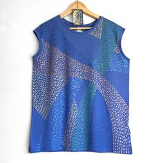 SHINY BLUE top. Blue Ladies sleeveless top with a shiny painted pattern. Women's organic cotton and tencel sleeveless t-shirt. by Smukie on Etsy