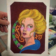 Prisma Color pencil drawing. Lady's face tattoo design art nouveau style.