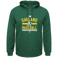 Oakland Athletics Majestic AC Team Property On-Field Solid Therma Base Hoodie - Green - $55.99
