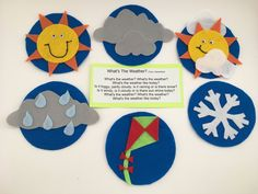 Weather Theme Flannel Board Set by PlayToLearnWithFelt on Etsy Flannel Board Stories, Flannel Boards, Circle Time Board, Weather Like Today, Weather Song, Felt Board Patterns, Circle Crafts, Little Snowflake, Felt Stories