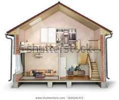 House cross section, view on bedroom, living room and hallway, illustration - Buy this stock illustration and explore similar illustrations at Adobe Stock Cross Section, Selling On Ebay, Kids Playing, Liquor Cabinet, Shed, Royalty Free Stock Photos, The Originals, Bedroom, Architecture
