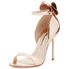 Sophia Webster Maya Bow Metallic 115mm Sandal ($575) ❤ liked on Polyvore featuring shoes, sandals, heels, sapatos, zapatos, rose gold, ankle strap sandals, open toe leather sandals, leather bow sandals and open toe sandals