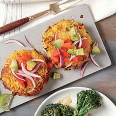 We love the flavors in Sweet Potato and Chickpea Cakes with Avocado Salsa for a meatless weeknight meal. Onion and spicy jalapeño contras...