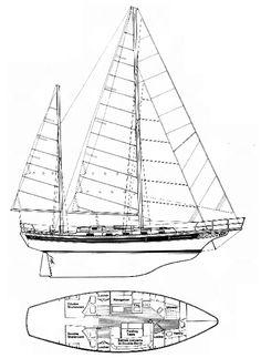 Bayfield 40 drawing on sailboatdata.com
