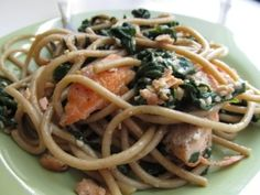 Sesame noodles with spinach and salmon. by connie.jonescoolbaugh