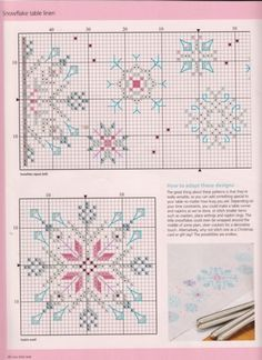 Pink and Blue Snowflake • Plus coordinating border design
