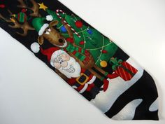 Santa Claus and reindeer | Christmas necktie | Yule Tie Greetings | 100% silk