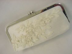 Wedding Clutch Purse Bridal Evening Bag - Envelope Clutch - Delicate Beaded Floral Lace Motif - Limited Edition - Sweet Romance. $85.00, via Etsy.