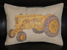 Yellow Tractor  Burlap Decorative Pillow Kids, country, mighty machine...since we will.move back to the country at some point