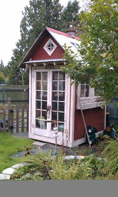 Charming tool shed made up of reclaimed windows . Bob Bowling Rustics Charming tool shed made up of Outdoor Sheds, Outdoor Gardens, Modern Gardens, Small Gardens, Shed Design, Garden Design, Landscape Design, Dream Garden, Home And Garden