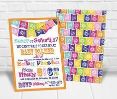 Senor or Senorita Gender Reveal Party Invitation Fiesta Gender Reveal Party, Gender Reveal Party Invitations, Personalized Invitations, Printable Invitations, Quick Print, Reveal Parties, Rsvp, Fiestas
