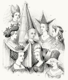 Female head-gear: VI. fifteenth century English; VII. fifteenth century German; VIII. a steeple; IX. the triple-horned hennin; X. the last of the hennin; XI. The turban; XII. the German roundlet; XIII. temp. mabuse