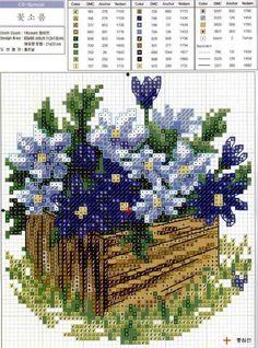 Bordados de macetas con flores en punto de cruz01
