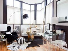 Nate Berkus Living Rooms Decorating Ideas with cow skin rug