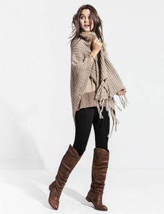 Love this look. Browns, neutrals, warm, cozy, comfortable, outfit stylish style boots cardigan shawl wool knit how to wear brown and black together black tights