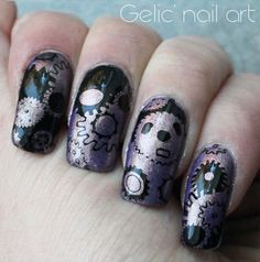 You can find this beautiful nail art design. Please use 15% off code(GHLC15 ) buy it here: http://www.ladyqueen.com/gear-nail-art-stamp-template-image-plate-hehe011-na0543.html http://gelicnailart.blogspot.se/2016/02/ncc-presents-purple-and-black-gear.html