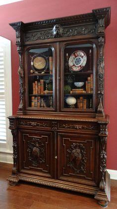 LARGE Antique English Renaissance Carved Oak Hunt Cabinet Hutch Bookcase