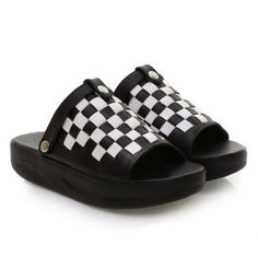Cheap Wholesale New Arrival Chessboard Pattern and Platform Heel Design Slippers For Women (BLACK,39) At Price 18.62 - DressLily.com