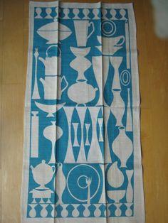 Vintage Linen Tea Towel - Mid Century Modern Kitchen Shapes