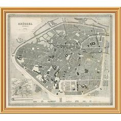 """East Urban Home 'Brussels, Belgium, 1860' Framed Graphic Art Print on Canvas Size: 28""""H x 34""""W x 1.5""""D"""
