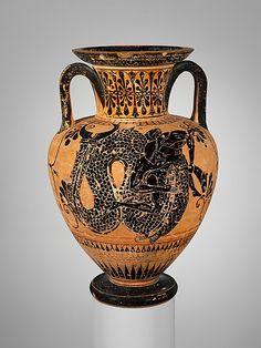 Terracotta neck-amphora (jar)    Period:      Archaic  Date:      ca. 510 B.C.  Culture:      Greek, Attic  Medium:      Terracotta  Dimensions:      H. 40.3-40.5 cm. Diameter 27.3 cm.   Classification:      Vases