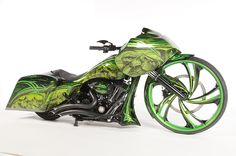 """Ravenous, in green, with a 30"""" MAD Twist -   by Ballistic Cycles"""